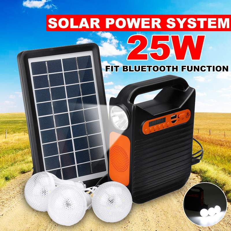 Bluetooth Solar Power Panel Generator Kit USB Home Charger System + MP3 Radio +3 LED Bulbs Light For Emergency Charging Lighting