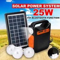 bluetooth Solar Power Panel Generator Kit USB Home Charger System + MP3 Radio +3 LED Bulbs Light for Emergency Charging Lighting