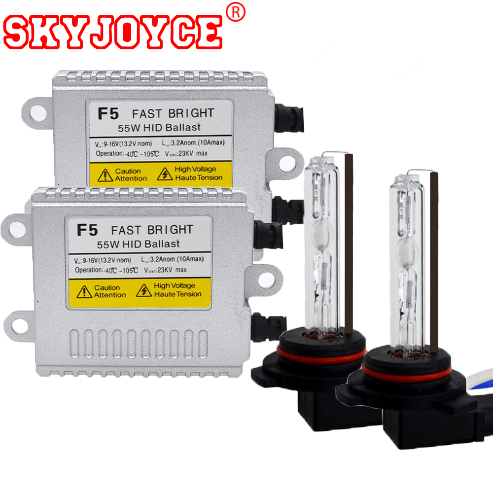 SKYJOYCE Fast 9012 bixenon kit hid headlight bulb lamp HIR2 9012 bulbs with HID ballasts for HIR2 hid kit 4300K-8000K 55W xenon 1 set 35w 12v error free canbus xenon hid hir2 9012 hid kits with hid xenon canceller ballasts hir2 hid kit 9012 4300k 8000k