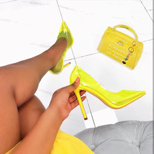Sexy PVC Candy Color High Heels Transparent Shallow Mouth Pointed Stiletto Heel Shoes Womens Party Nightclub Pump