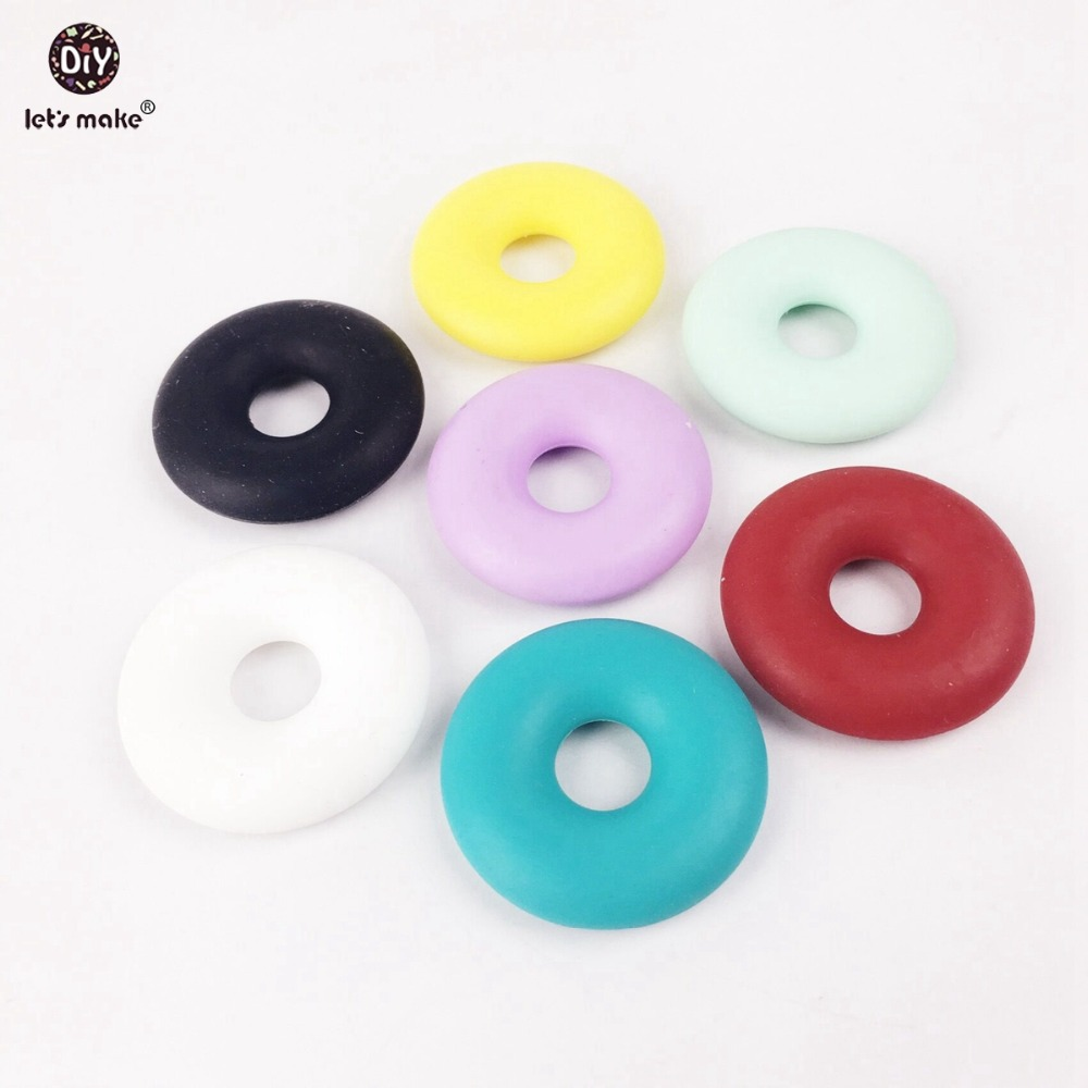 Let's make Silicone Baby teether Toy Silicone Beads Silicone Dunut Shaped 10PC 11colors 30mm DIY Necklace Bracelet Baby Teether