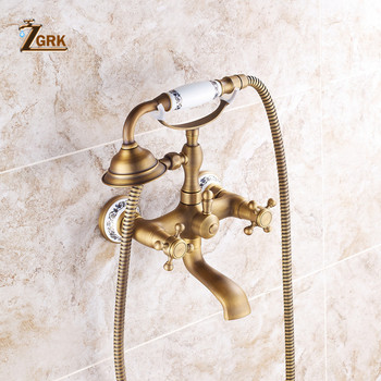ZGRK Shower Faucets Brass Bathroom Mixer Wall Mounted HandHeld Bathroom Sanitary Hand Shower Mixer Tap Sets HS0071Q shower faucets bathroom cabin showerhead top spray raining faucet brass shower sets gold home decoration the mixer crane oyd008r