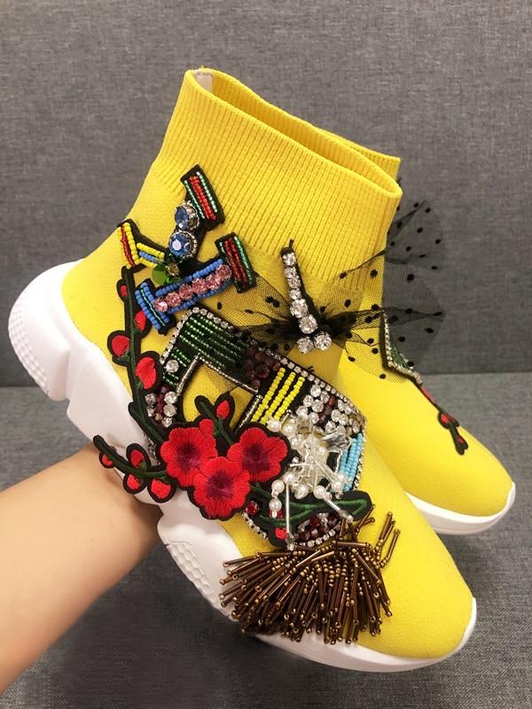 Yellow Crystal Sneaker Crystal Socks Sneaker Women Rhinestone Casual Platform Shoes Knitted Socks Casual Fashion Sneakers WK100Yellow Crystal Sneaker Crystal Socks Sneaker Women Rhinestone Casual Platform Shoes Knitted Socks Casual Fashion Sneakers WK100