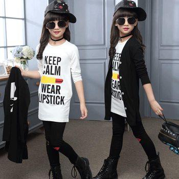c015f8de664b8 3 adet Çocuk Kız giyim setleri Sonbahar Genç Kız Spor Takım Elbise Okul Çocukları  Giysi Eşofman Uzun Ceket Tayt Kız Giysileri