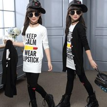 купить 3pcs Children Girls Clothing Sets Autumn Teenage Girls Sport Suit School Kids Clothes Tracksuit Long Coat Leggings Girls Clothes дешево