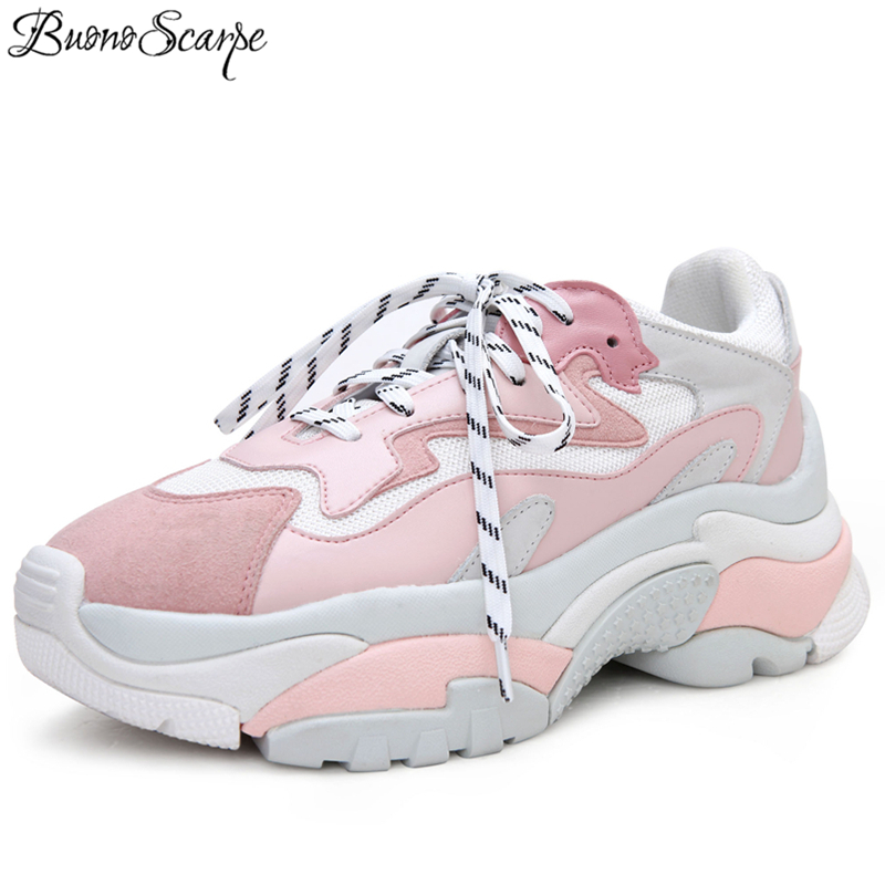BuonoScarpe Platform Heel Sneakers Women Creepers Casual Flat Shoes Ladies Travel Lady Female Footwear Thick Sole