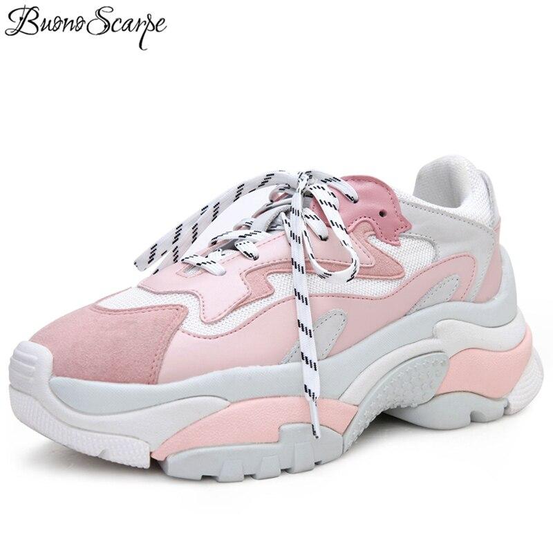 BuonoScarpe platforma obcas trampki kobiety pnącza na co dzień płaskie buty damskie podróży pani obuwie damskie grube podeszwy tata trampki w Damskie buty z gumową podeszwą od Buty na  Grupa 1