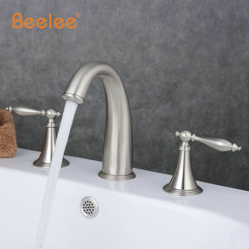 Newly Brushed Nickel 2 Handle 3 Pcs Waterfall Bathroom Basin Sink Faucet Deck Mounted Bathtub Hot&Cold Mixer Faucet Tap BL3005N wall mounted dual handle waterfall basin faucet brushed nickel hot and cold wash basin mixer taps