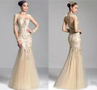 2019 Charming Sheer Illusion Long Sleeves Evening Dresses Mermaid Floor Length Party long dress Tulle Formal Evening Gowns