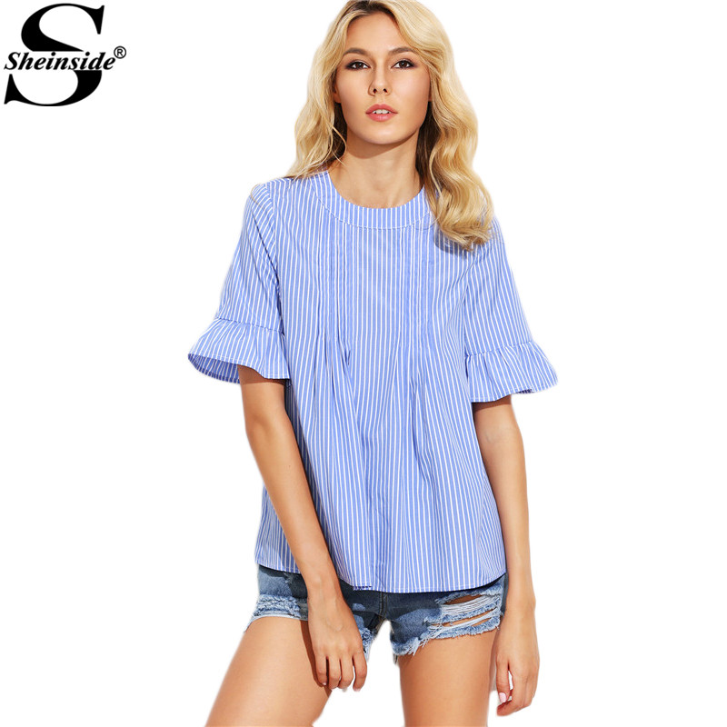 Sheinside Vertical Striped Blouses Women Blue Casual Back Button Up Cute Summer Tops 2017 New Brief Ruffle Short Sleeve Blouse