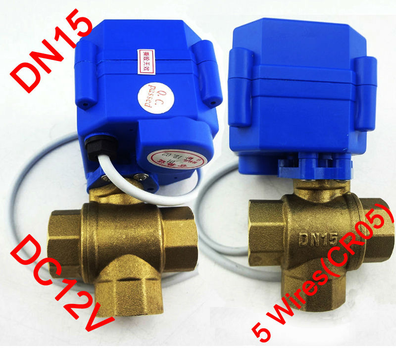 1/2 Electric Valve 3 way T port, DC12V Motorized ball valve 5 wires(CR05), DN15 electric valve for flow direction control 1 dc12v ss304 3 way l port electric ball valve dn25 2 wires motorized ball valve for water heating