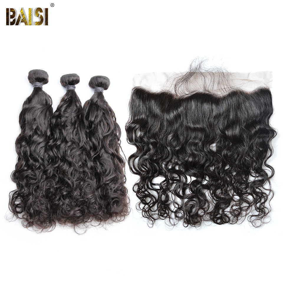 BAISI Hair Brazilian Water Wave 8A Virgin Hair Weave 3 Bundles with Lace Frontal 100% Human Hair