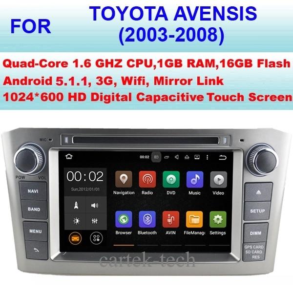 Quad Core Android 5.1.1 Radio Samochodowe GPS Multimedia Dla Toyota Avensis Samochodowy Odtwarzacz DVD (2003-2008) Stereo Audio, Obsługuje WiFi 3G