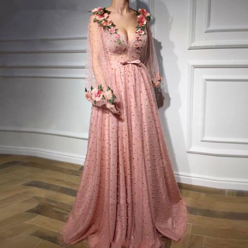 Muslim   Evening     Dresses   2019 A-line Deep V-neck Long Sleeves Tulle Pearls Flowers Dubai Saudi Arabic Long Formal   Evening   Gown