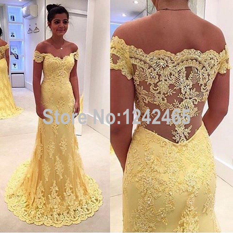 Mermaid Off Shoulder Long Formal Dresses Long Evening Gowns Lace ...