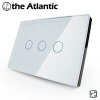 US AU Standard 3 Gang 2 Way Crystal Glass Switch Panel Touch Sensor Wall Switch Light