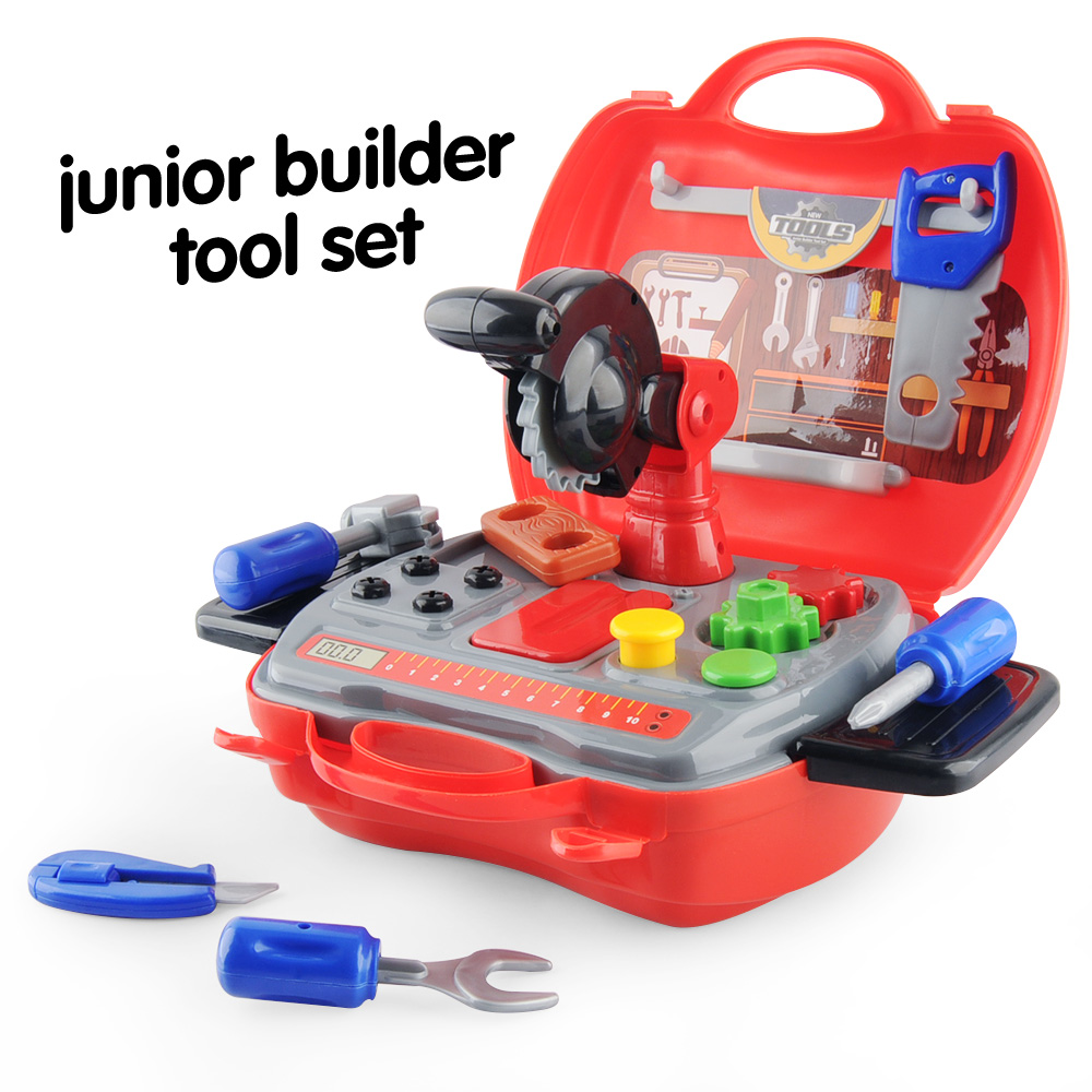 19pcs Kids Tool Diy Set Construction Pretend Play Creative Toys With Hard Case Xmas Gifts For Kids