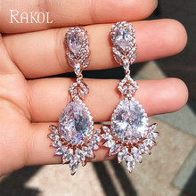 RAKOL Luxury AAA Cubic Zircon Rose Gold Color Water Drop Crystal Big Drop Dangle Earrings For Brides Women Wedding Jewelry RE021 недорого