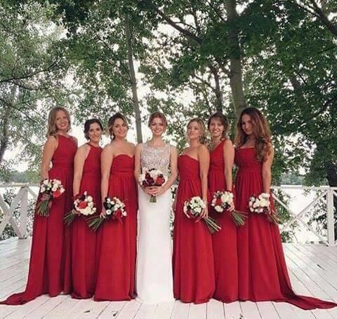 8326d669eeb3a Red Bridesmaid Dresses 2017 Sweetheart Cheap Price Wedding Party Gowns robe  de soiree Marsala Maid Robe