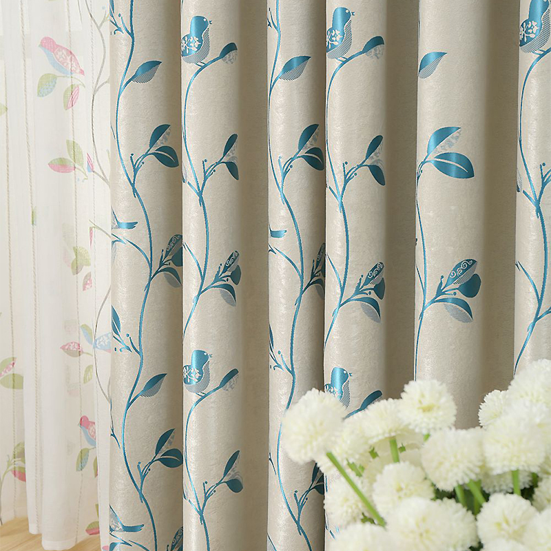 MYRU Modern minimalist double sides bedroom living room shade cloth curtain blue leaves cloth curtains free shipping