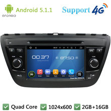 Quad Core 7″ 1024*600 2Din Android 5.1.1 Car DVD Player Radio Stereo BT FM DAB+ 3G/4G WIFI GPS Map For Suzuki SX4 S-Cross 2014
