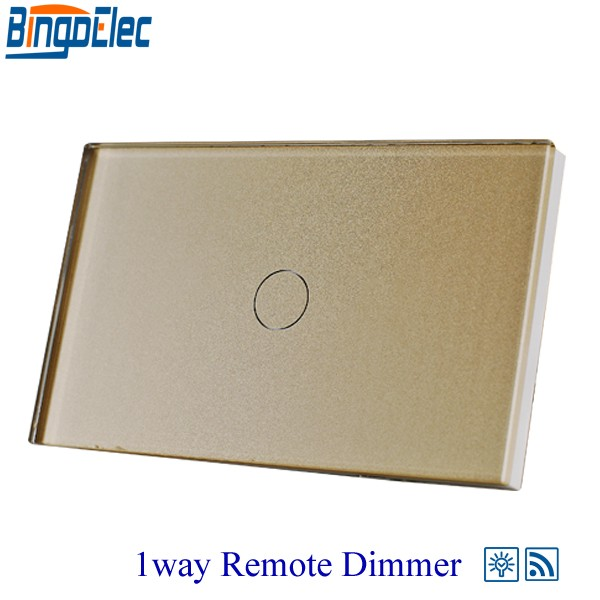 Bingoelec Gold glass panel RF433 Remote Switch, 1gang 1way Touch Remote Dimmer Switch for Light, ,110-220V ,AU/US Standard 1gang 1way touch remote dimmer switch glass panel touch dimmer light switch eu uk standard ac110 240v hot sale
