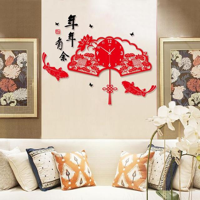 Dies Decorative Wall Clock Chinese New Year Carved Large Red Living Room  Wall Clock Mute Books