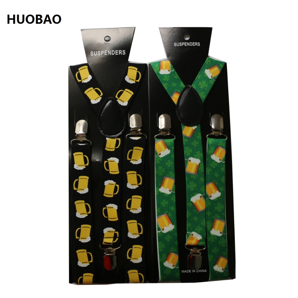 2019 New Fashion 2.5cm Wide Brace Adjustable Clip On Cartoon Beer Pattern Suspenders For Mens  Womens