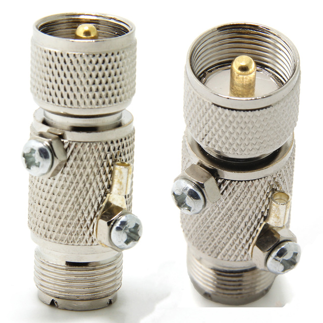 البرق المقوس ل CB هام اتجاهين هوائي الراديو ، UHF PL 259 ذكر إلى أنثى RF محوري موصل محول ، حزمة من 2