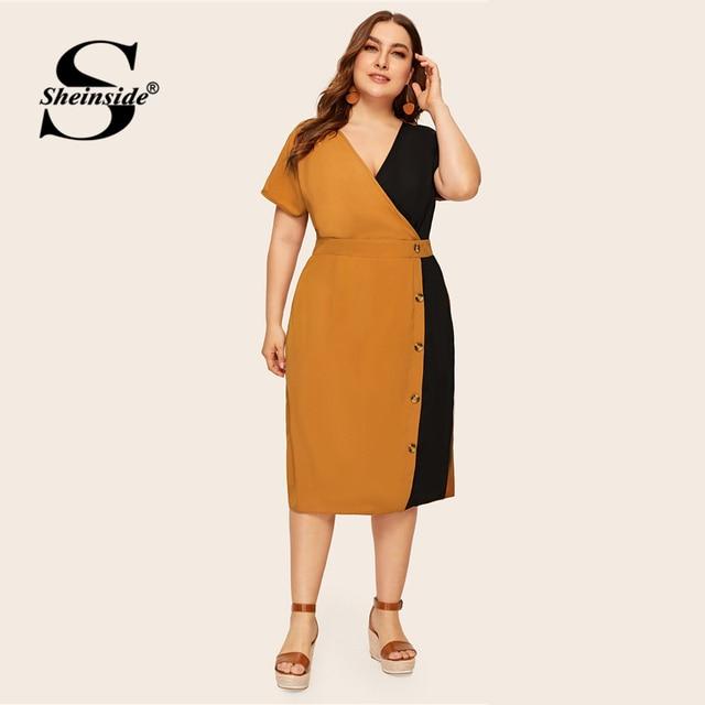 Sheinside Plus Size Elegant V Neck Colorblock Straight Dress Women 2019 Summer High Waist Dresses Ladies Button Detail Dress 2