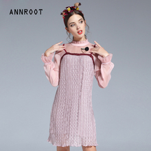 ANNROOT Women Lace Dresses Summer 2018 New Arrival Lace Dress for Women Noble Long Sleeve Party Dress Female Free Shipping
