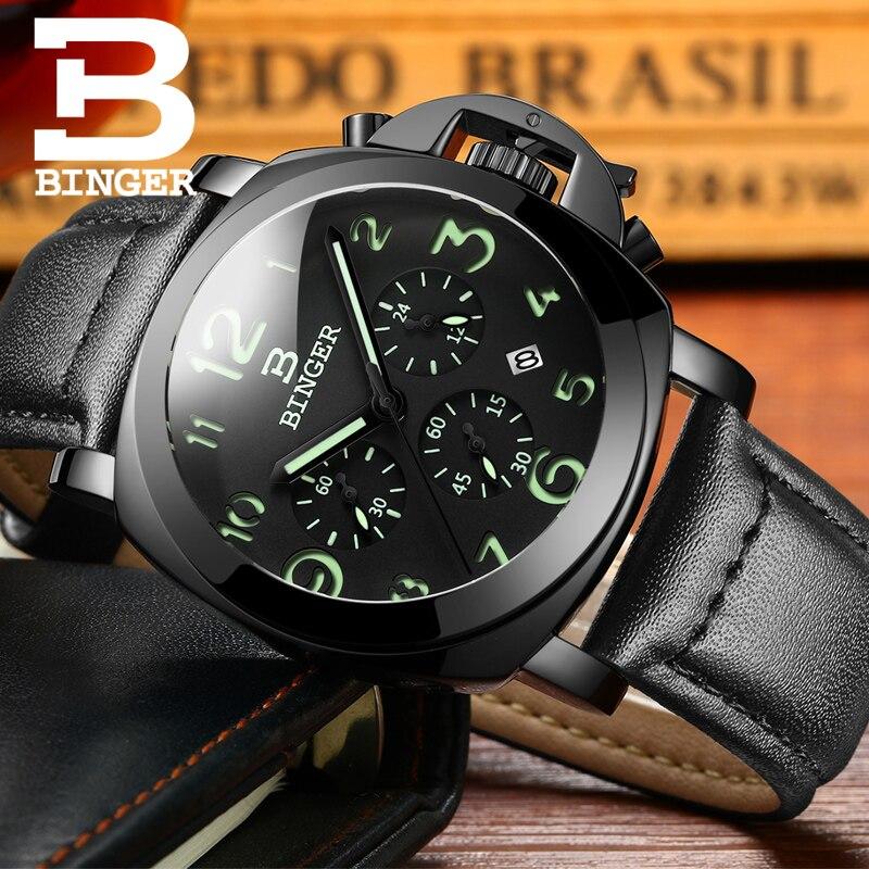 BINGER Fashion Casual Top Brand Quartz Watches Men Leather Sports Watch Man Business Wrist watch Male Luminous Chronograph Hour цены онлайн