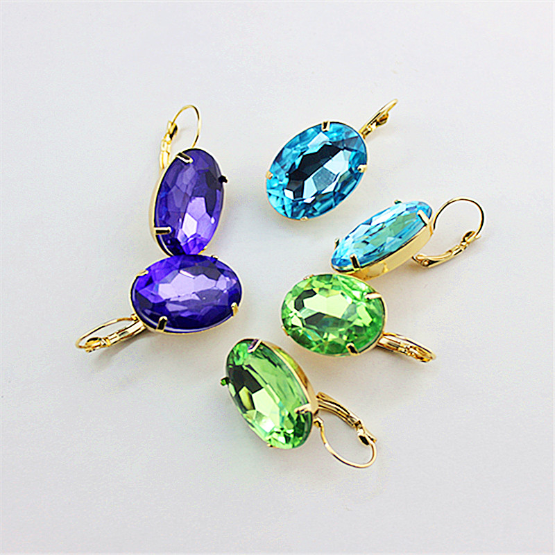 Ms Purple Teal Popular Wholesale Jewelry Factory Girl Girls Form Beautiful Birthday Party Oval Earrings Free Shipping!