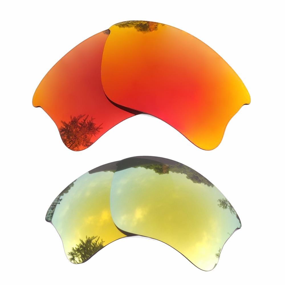 Orange Red Mirrored & 24k Gold Mirrored Polarized Replacement Lenses For Flak Jacket Xlj Frame 100% Uva & Uvb Apparel Accessories