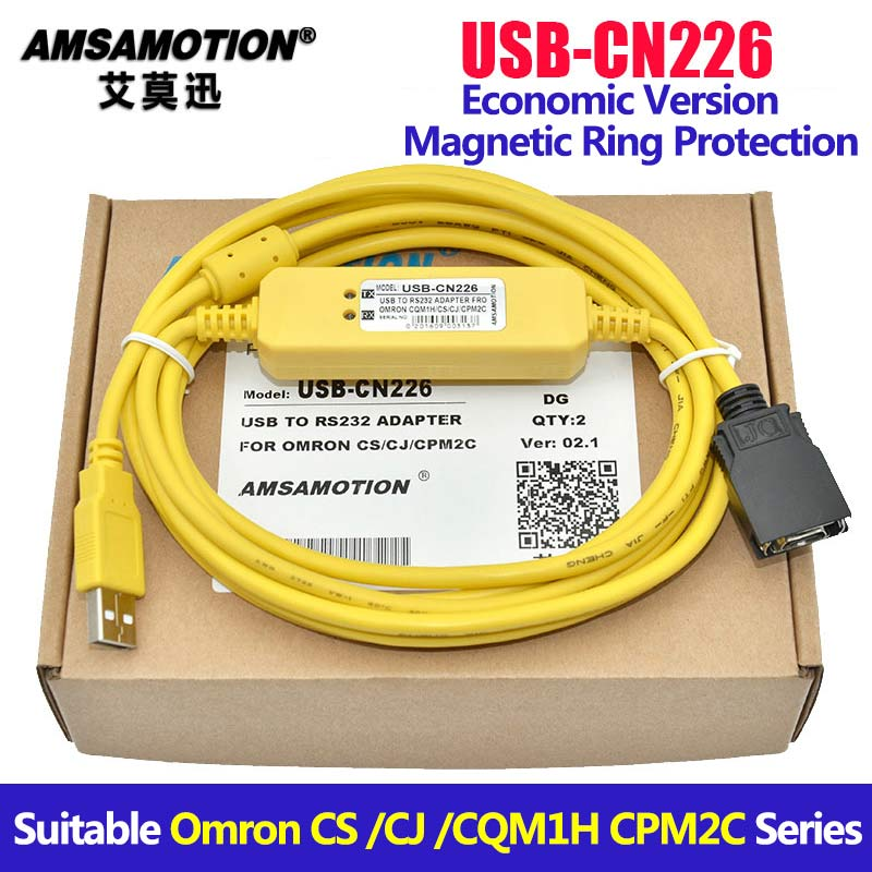 USB-CN226 Adapter For Omron CS/CJ/ CQM1H/ CPM2C Series PLC Programming Cable Support WIN7 ic690usb901 usb to snp adapter for ge fanuc 90 series plc fast shipping