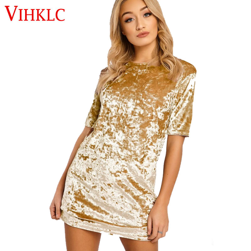 High Quality Women Velvet Dress 6 Colors O-neck Short Sleeve Casual Mini Bodycon Satin Slip Pink Gold Glitter Flare Dress H140 Elegant In Style Women's Clothing