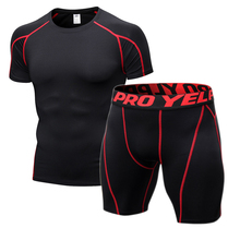 Compression Gym Tight Clothing Men Jogging Suits Sports Sets Fitness Clothes Black Tights Running T Shirt Shorts Workout wear