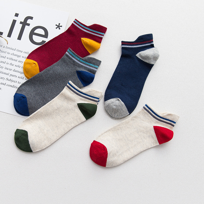 PEONFLY Four Seasons Full Cotton Ventilation Non-slip Motion funny Man Fashion Colour Head Invisible Male Boat Socks 5PAIRS/LOT