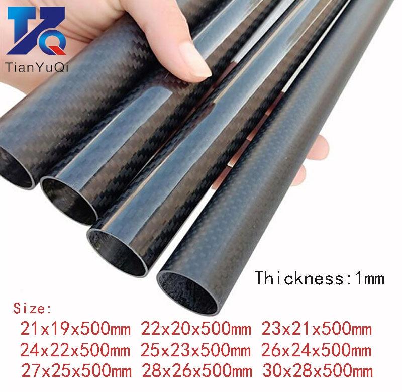Tubo oco da fibra do carbono de 28mm 30mm para materiais do modelo do uav 2 pces 3 k espessura circular do tubo da fibra do carbono 1mm od 21mm 23mm 25mm