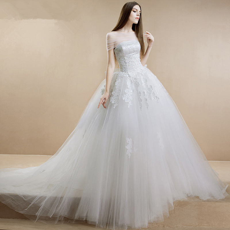 Omyw0024 strapless top lace applique floor length spanish for Spanish wedding dresses lace