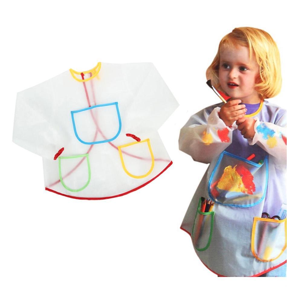 1 pcs Cartoon Kids Baby Apron Smock Waterproof Long Sleeve Bib Boys Girls Painting Drawing Clothes Home Apron Smock Costume