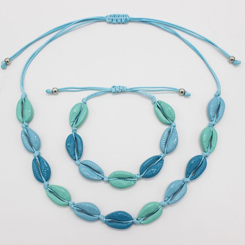 Women Girls Summer Beach Shell Choker Necklace Bracelet Set Bohemian Colorful String Rope Handmade Beaded Bracelet Jewelry in Jewelry Sets from Jewelry Accessories