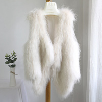 Вязаный крючком вязаный белый енотовидная собака меховой жилет жилеты Топ куртки свитер плюс Размеры 5XL 6XL 7XL куртка без рукавов