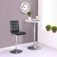 JEOBEST 2PCS Set Black Bar Stools Height Adjustable Swivel PU Leather Dining Chair Pipe Modern Style