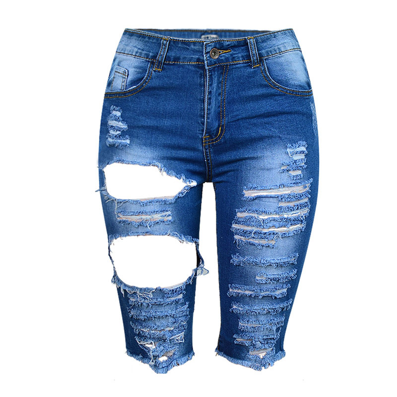 TREND-Setter 2017 Summer Hole Jeans Shorts For Women Ripped Denim Pants Knee Length Jean Woman High Waist Slim Jeans fashion high waist jeans ankle length denim pants ripped hole jeans casual summer women jeans denim pants jean new tt1138