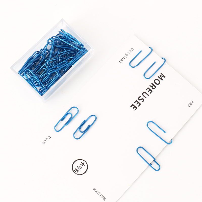 TUTU 50pcs/box Of 28mm PET Paper Clips Notes Classified Clips Children'S Student Stationery School Office Supplies H0314