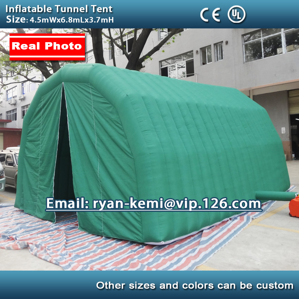 Free shipping 6.8m Inflatable tunnel tent with door inflatable car garage tent outdoor inflatable party tent with CE blower