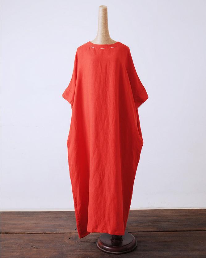 Литературный большой ультра-Свободные длинное платье плюс Размеры Ретро Для женщин Платья для женщин Халаты Демисезонный Летний стиль женское платье - Цвет: Красный