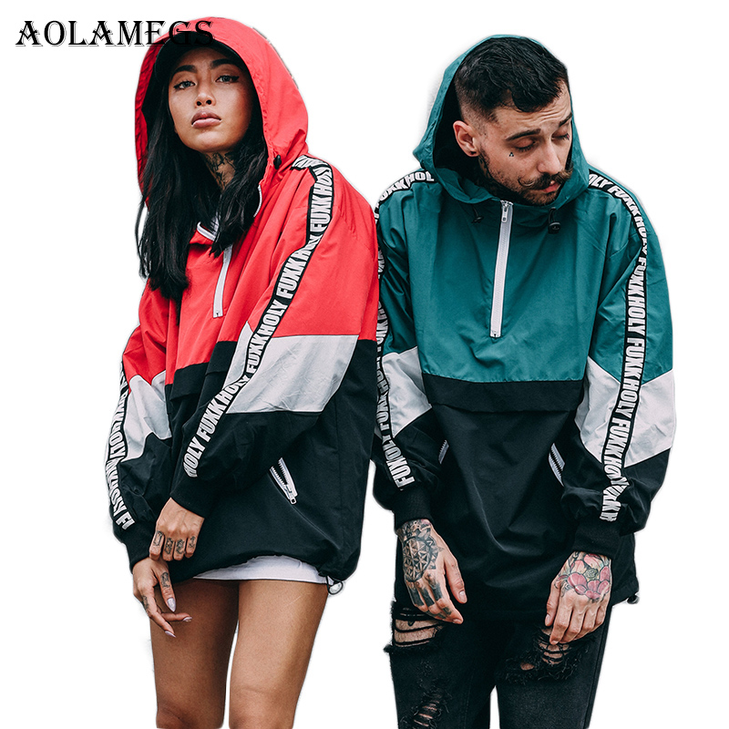 Aolamegs Jackets Men Patchwork Color Hooded Pullover Jacket Zipper Tracksuit Fashion Coats Hip Hop Male Streetwear Autumn Couple hoodie