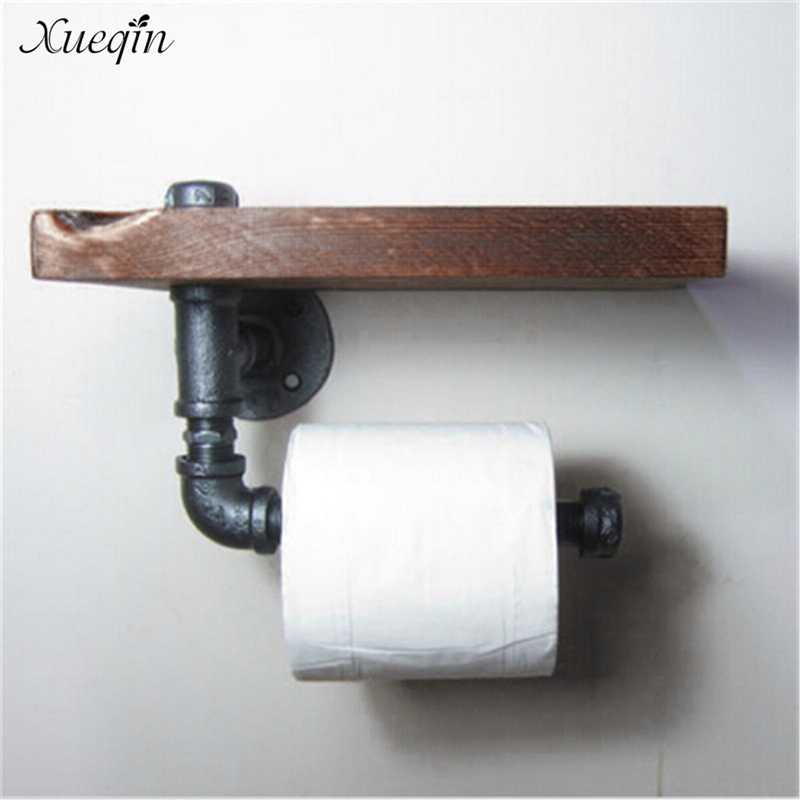 Xueqin Free Shipping High Quality Retro Iron Toilet Paper Holder Bathroom Hotel Roll Paper Tissue Hanging Rack Wooden Shelf